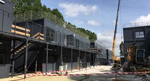 Collège provisoire Saint-Exupéry à Vincennes: le chantier touche à sa fin. Il pourra accueillir 800 élèves à la rentrée 2018