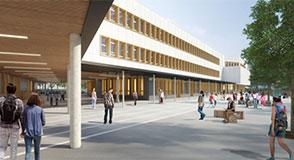 """Ossature en bois ou sanitaires alimentés en eau de pluie… Le premier collège """"passif"""" de France sera construit à Valenton."""